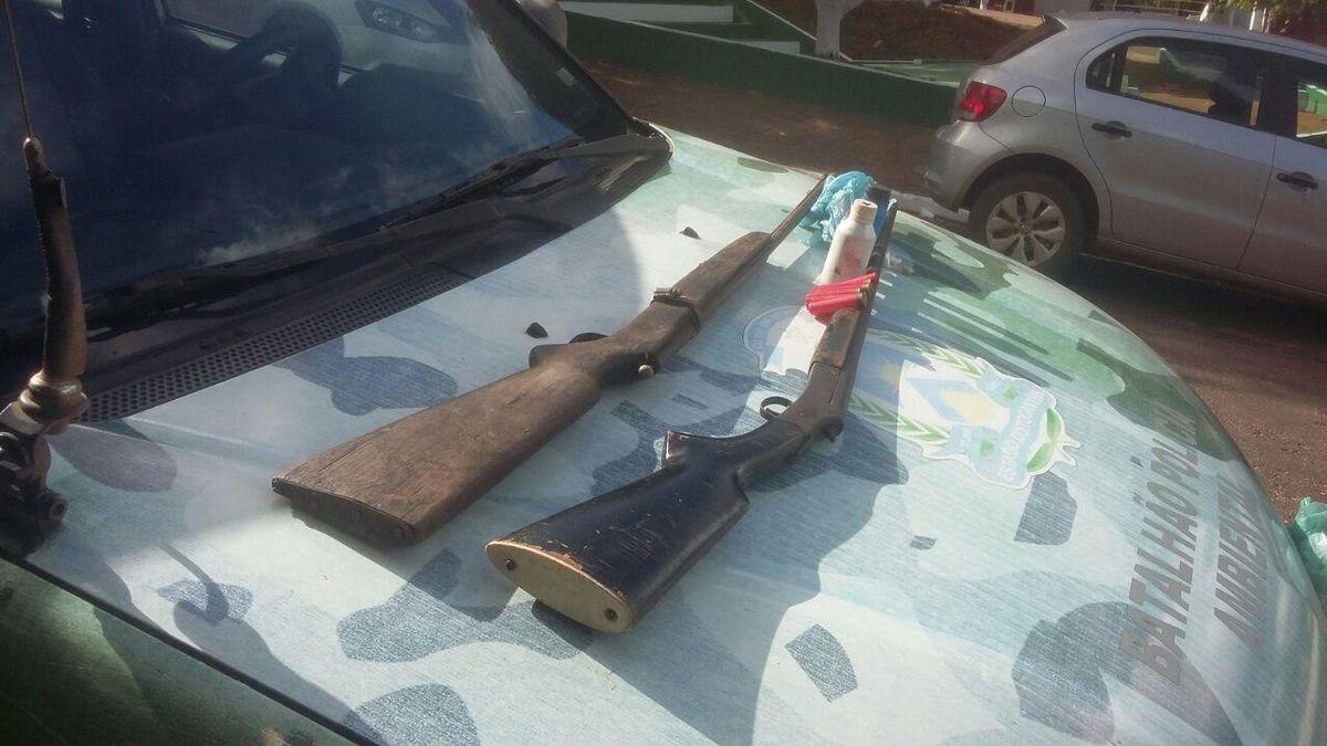 Armas apreendidas pelos policiais militares