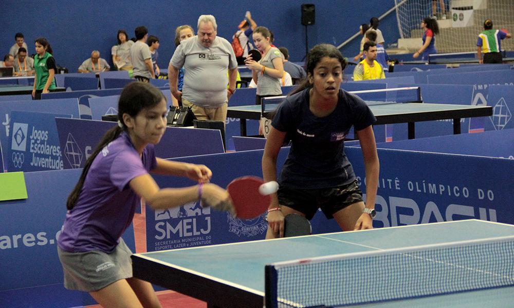 No Tênis de Mesa, Anna Clara e Emília chegaram até as quartas por duplas -Foto: Philipe Bastos
