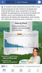 Dulce comemora crescimento do Tocantins acima do PIB e parabeniza governador