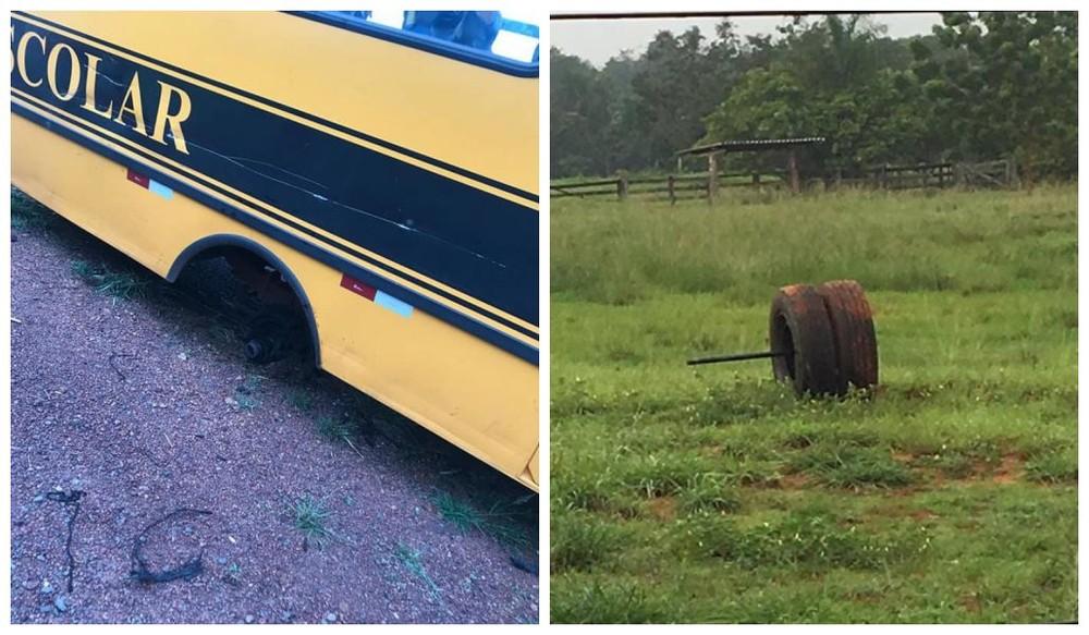 Estudantes levam susto em acidente com ônibus escolar na BR-153