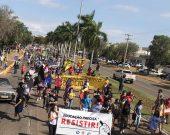 Protesto contra Bolsonaro e a favor da vacina reúne manifestantes pelas ruas de Palmas