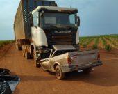 Batida envolvendo carreta e carro deixa dois mortos; corpos ficam presos às ferragens
